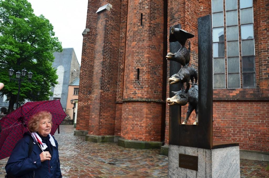 Beeld van zusterstad Bremen in Riga